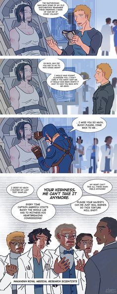 "now that Bucky is with the team, there are some things Steve just cannot do anymore XD Sam: ""Cap, I gotta ask, are you listening to Bucky because he's scary or because you are sleeping with h..."