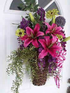 pink purple spring summer wreath basket