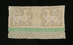 1800–1850 Culture: Russian Medium: Linen, silk Dimensions: 16 1/2 x 9 1/2 in. (41.9 x 24.1 cm) Classification: Textiles Credit Line: Brooklyn Museum