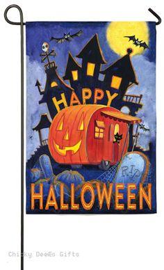 Evergreen Garden flag Pumpkin Trailer Halloween