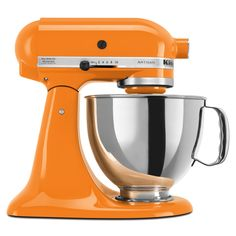 Your dinners are bound to taste better when you make them with a tangerine KitchenAid! These bright mixers double as decorative pieces and functional tools.