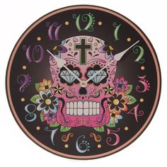 Wall Clock Day of the Dead Skull Fun Black by getgiftideas on Etsy