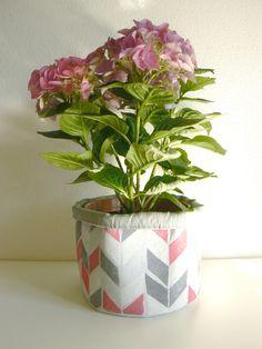 handprinted/handstamped cloth pot