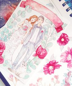 If youve been looking for a wedding gift idea or for a unique Save The Date invitation card, a watercolor portrait illustration of the happy couple might just be it!  Ive created watercolor art for several weddings and engagement parties, so Ill now be offering them on Etsy, too. Commission