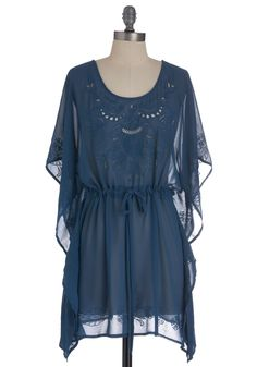 Antique Fair Tunic - Long, Blue, Solid, Cutout, Embroidery, Casual, Boho, Short Sleeves