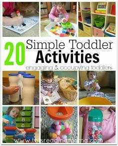 SIMPLE Toddler Activities 20 Simple Toddler Activities: engaging and occupying toddlers - This Reading Simple Toddler Activities: engaging and occupying toddlers - This Reading Mama Toddler Play, Toddler Learning, Toddler Preschool, Toddler Crafts, Fun Learning, Learning Activities, Infant Toddler, Indoor Activities, Craft Activities For Kids