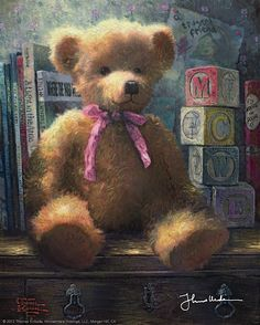 Thomas Kinkade A Trusted Friend - Blue Bell print for sale. Shop for Thomas Kinkade A Trusted Friend - Blue Bell painting and frame at discount price, ships in 24 hours. Cheap price prints end soon. Arte Country, Pintura Country, My Teddy Bear, Cute Teddy Bears, Thomas Kinkade Art, Kinkade Paintings, Thomas Kincaid, Bear Paintings, Oil Paintings