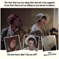 Everything Miss Fisher, The Foxy Lady Detective — Miss Fisher Timeline (20) – S2E7 Blood at the... Murder Mysteries, Timeline, Detective, Besties, Fisher, Blood, Believe, Puzzle, Relationship