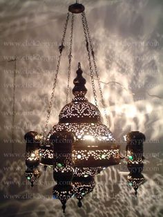 Antique Style With Gems Islamic Hanging Chandelier/Light Fixture:hold four 100 Watt bulbs inside the main body