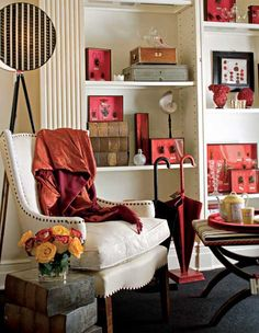 nailhead trim and accents of red