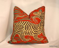 BOTH SIDES - ONE High End Clarence House Tibet Print Cinnabar Fully Lined Pillow Cover with Self Cording on Etsy, $70.00