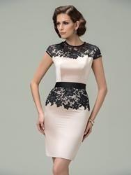 #EricDress - #EricDress Sheath Jewel Cap Sleeves Lace Cocktail Dress - AdoreWe.com