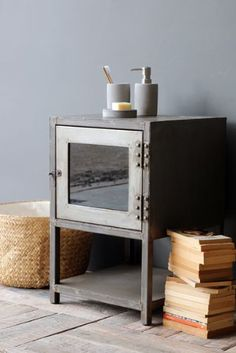 Industrial Metal Bedside Table with Glass Front  $192.00 @ RSG