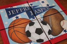 Acrylic Canvas Soccer Basketball Football Baseball Glove Sports Art Boy Room Canvas Original Personalized Painting