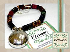 Pulsera con piedras semipreciosas y dije plateado.  #KerussoBisuteria #Design #Jewelry #HandMade #CostaRica