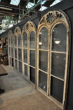 set of 4 wooden painted windows c.1880 Espace Nord Ouest. So many neat things could be done with these.
