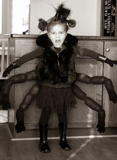 Spider Costume baby girl toddler kids DIY (tights and an old cushion) cute halloween | Halloween | Pinterest | Spider costume Spider and Costumes  sc 1 st  Pinterest & Spider Costume baby girl toddler kids DIY (tights and an old cushion ...