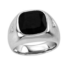 Black Onyx Signet Ring. Square Signet Ring. Men's Black Onyx Ring In Sterling Silver with Genuine Diamonds Signet Ring. Silver Signet Ring - Brought to you by Avarsha.com