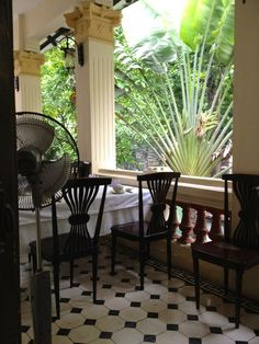 Bright and airy interior of an old colonial house, Ho Chi Minh City ...