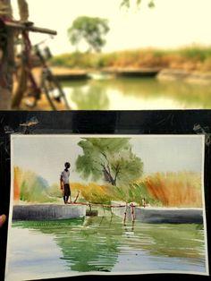 Watercolor Landscape Tutorial, Painting, Art, Art Background, Painting Art, Kunst, Paintings, Performing Arts, Painted Canvas