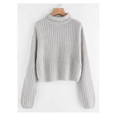 SheIn(sheinside) Turtle Neck Drop Shoulder Jumper ❤ liked on Polyvore featuring tops, sweaters, gray pullover sweater, grey sweater, grey pullover, grey turtleneck sweaters and turtle neck sweater