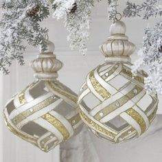 RAZ Imports - Gold, Silver and Pearl Lattice Ornaments