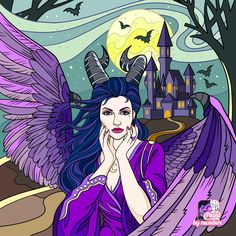 Fantasy Queen, Fantasy Art, Witch Pictures, Bricolage Halloween, Disney Maleficent, Disney Colors, Drawing Games, Virtual Art, Halloween Drawings