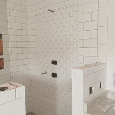 The lantern arabesque tile panel is up in our client's steam shower  We used ceramic instead of marble (because of the steam).
