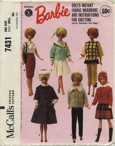 "Vintage Barbie™ Doll Clothes Sewing Pattern | Official Mattel Barbie® Doll's Instant Fabric Wardrobe and Instructions for Knitting also fits Miss Barbie® and Midge™ | McCall's 7431 | Year 1964 | One Size - 11½"" Doll"
