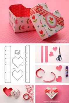 I Love Craft: Boxes with molds Cool Paper Crafts, Cardboard Crafts, Diy Crafts For Kids, Cardboard Boxes, Diy Gift Box, Diy Box, Diy Gifts, Diy Origami, Creative Gift Wrapping