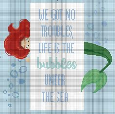 Life is the Bubbles Under the Sea  Little Mermaid cross stitch pattern by StitchandaSong