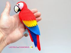 BIRDS. Aves. (The price is per 1 item) 1. Flamingo 2. Owl 3. Penguin 4. Pelican 5. Whitehead eagle 6. Sakura branch 7. Peacock 8. Toucan 9. Blue Macaw 10. Red Macaw 11. Scarlett Macaw Cute miniature decorative items made from colorful felt fabric. These stuffed felt items are originally designed as a great home decor and adorable gifts for your loved ones. They are educational for the children and actually fun for all ages. The items can be made as magnets, double sided toys or hanging o...