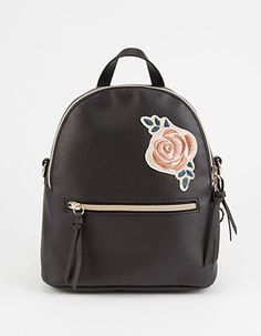 T-SHIRT & JEANS Rose Patch Mini Backpack Black