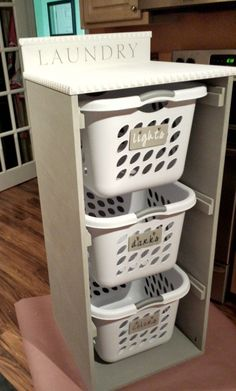 Diy laundry basket - Organizer your laundry area by building this easy laundry basket dresser! Laundry Basket Holder, Laundry Basket Dresser, Laundry Basket Storage, Laundry Room Organization, Storage Baskets, Laundry Sorter, Laundry Organizer Diy, Shelves With Baskets, Laundry Room Baskets
