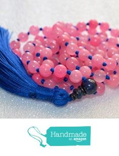 Blue and Pink 8 mm Jade Beads hand knotted Mala Necklace 108+1 Blessed & Energized Buddhist Om Prayer Karma Yoga Meditation Rosary for Nirvana Chanting Awakening Chakras Kundalini - USA Seller from AwakenYourKundalini https://www.amazon.com/dp/B01GY610XY/ref=hnd_sw_r_pi_dp_Xp-hybJRD0X4H #handmadeatamazon