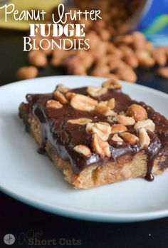 Peanut Butter Fudge Blondies #Recipe