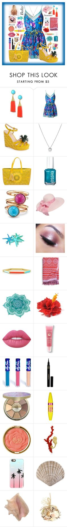 """Beach Baby 🌴"" by aspiretoinspire22 ❤ liked on Polyvore featuring Matthew Williamson, Kate Spade, David Yurman, BUCO, Essie, Avon, Too Faced Cosmetics, Tory Burch, Vera Bradley and Lime Crime"