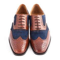 Jeeves Brown/blue Two Tone Brogue Shoe 4 3