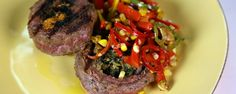Mario Batali's Grilled Steak with Charred Corn& Pepper Salad. This charred corn puts a new twist on this crowd-pleasing dish that will amaze the whole family! Entree Recipes, Grilling Recipes, Meat Recipes, Cooking Recipes, Yummy Recipes, Dinner Recipes, Corn Recipes, Lamb Recipes, Recipes
