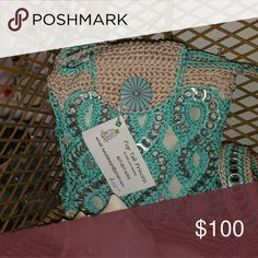 Pop Tab Purse Turquoise and silver Handmade Crocheted with Pop tabs Pop Tab Princess Bags Shoulder Bags