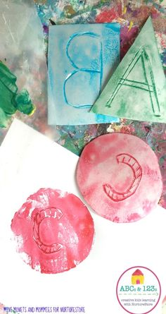 Perfect art and letter activity, using print-making to print an alphabet you can use for hands-on learning.
