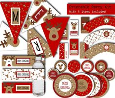 christmas party printables 5 items printable party kit christmas party decorations merry christmas banner christmas decorations