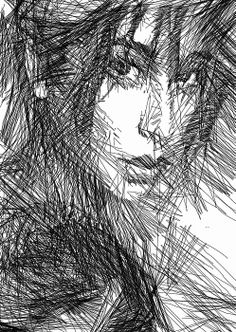 Female portrait sketched in black and white. Facial Expressions Series Artist Rafael Salazar #Colombia Copyright 2013
