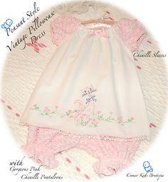 Pink Kitty Peasant Style Vintage Pillowcase Dress N Chenille Pantaloons, via Flickr.