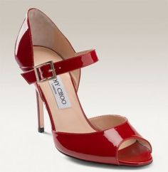 Jimmy Choo Lace Mary Jane Patent Pumps Red - Love it !