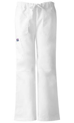 Women's Workwear Drawstring Cargo Pant - White