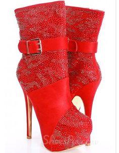 Glaming Red Zebra Print Stiletto Heel Platform Women's Ankle Boots