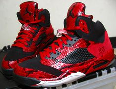 Air Jordan 5 Red Spitting Cobra (Y.O.T.S.) by Mr. Exclusive Customs