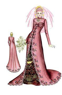Sketch of Modern Pink Kebaya with Batik