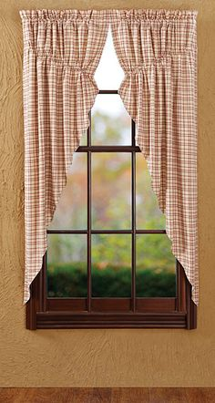Tacoma Pattern Prairie Curtain...Colonial and primitive country home decor from FARMHOUSE PRIMITIVES